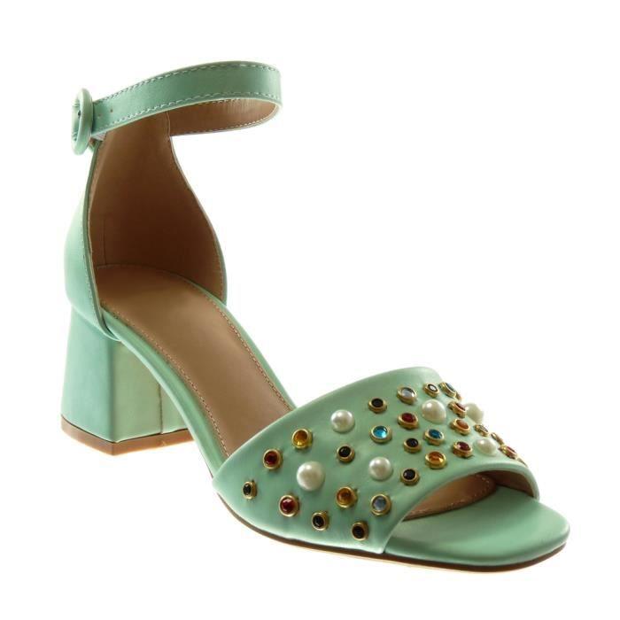 Angkorly - Chaussure Mode Sandale lanière cheville femme lanière bijoux perle Talon haut bloc 6 CM - Vert - LL709 T 35
