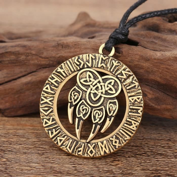 Womens Talisman Amulet Viking Slavic God Symbol With Antique Bear Paw And Lucky Knot Pendant Neckl YGAI1
