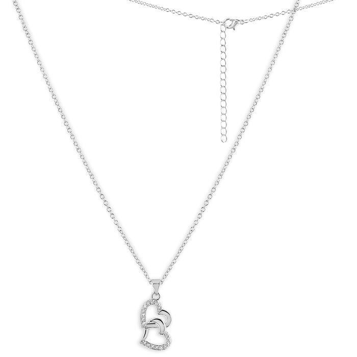 Pendentif Coeur Femme - Bijou Plaqué Argent, Rhodium - Zirconium ¤¤