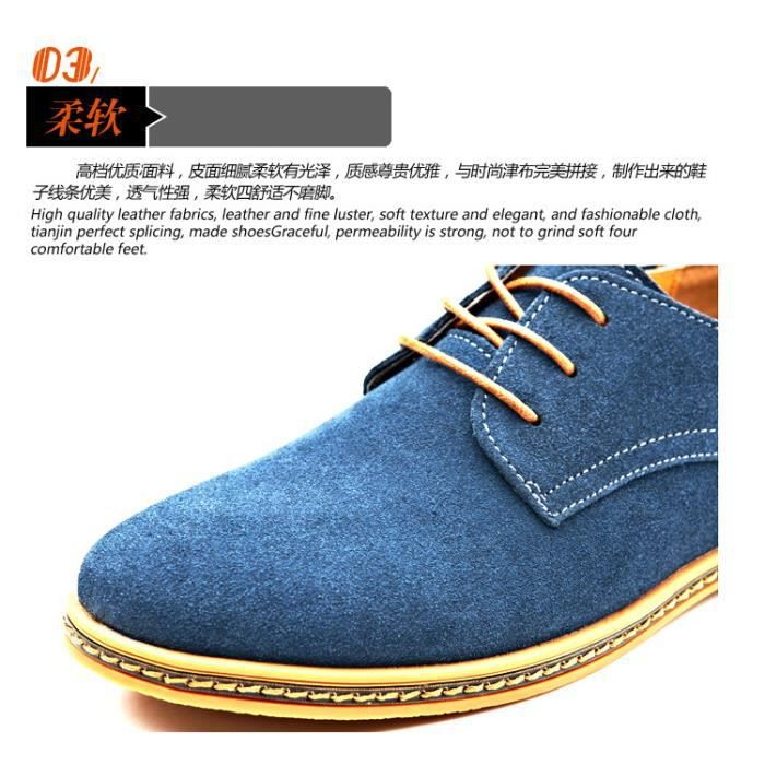 décontracté pour cuir en grande Chaussures taille hommes de fE6wq