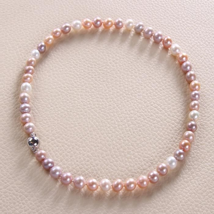 Rolicia Aaa Femmes Niveau 8-9 Mm 45 cm ronde eau douce perles de culture Boucles doreilles Collier L92JL