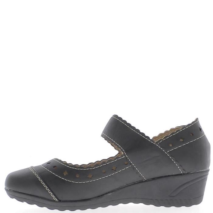 Chaussures femme noires confort talon compensé de 4cm large bride