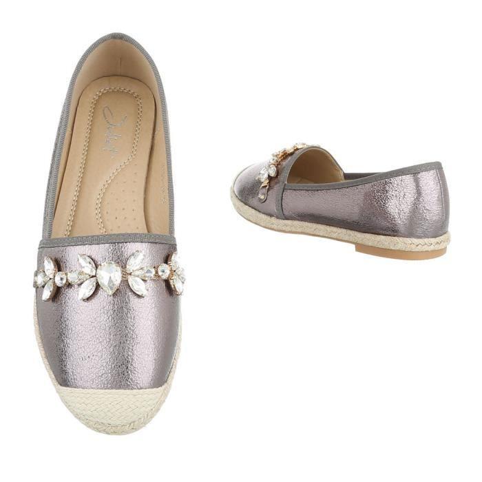 Chaussures Gris Argent Espadrilles neurs Blanc Femme Fl Mocassin 41 wqUrZ1F4w