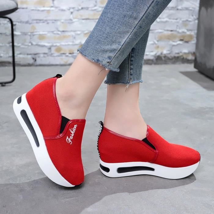 Shoe Platform Increased Shoes Femmes Net y 3766 Mesh Slope Casual Breathable Rouge Thick qqrzCg5wx