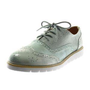 f20185e634bfe0 Angkorly - Chaussure Mode Derbies bi-matière semelle basket femme perforée  brillant croco Talon compensé 2.5 CM - Bleu - G1529 T 36