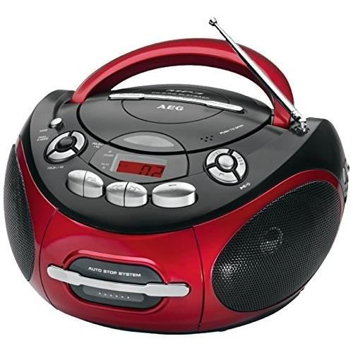 AEG SR 4353 RD Radio CD MP3 Cassette - Aux-In - LCD - Rouge