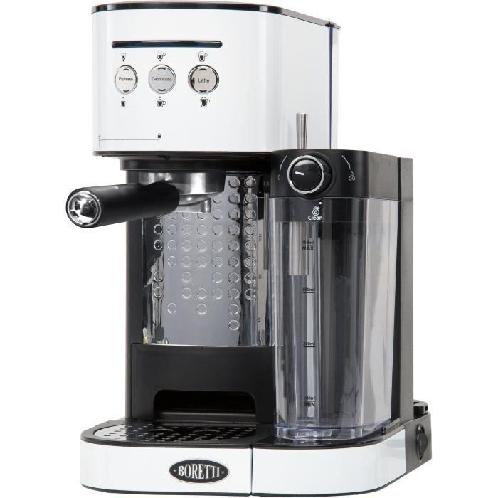 BORETTI B401 Machine à expresso 15 bars - Cappuccino et latté avec mousse de lait - Blanc