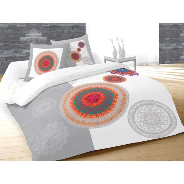 SOLEIL D'OCRE Parure de couette Fantasy - 1 housse de couette 220x240 cm + 2 taies d'oreiller 63x63 cm blanc, gris et orange