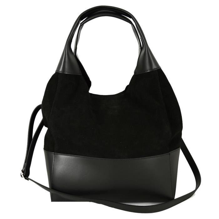 Sac Shopper Pour Femme En Cuir De Daim Véritable Couleur Noir - Maroquinerie Fait En Italie - Sac Femme