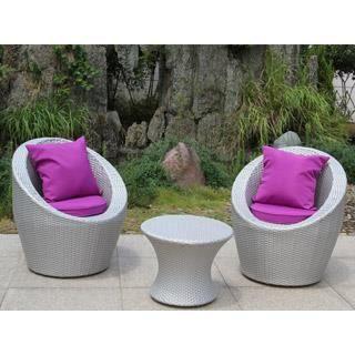 Salon de jardin TOTEM 3 pièces gris sidéral et fuschia ...