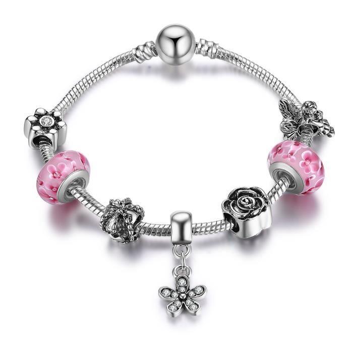 BAMOER Bracelet Charms Plaqué Argent 925 Rose Murano Verre Perles Elfe  Bralqque Charm et Pendentifs pour Femme Cadeaux 20cm PA1910 b03a89ba3bbd