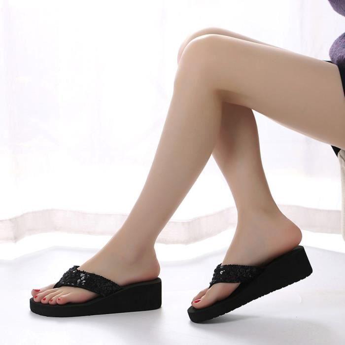 Femmes Anti 36 Chaussures Pantoufle drapant Paillettes Noir D't HPxqgSw6