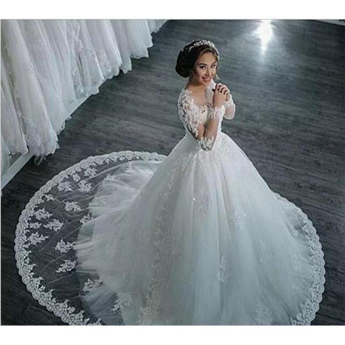 Blanc Tulle De Luxe Princesse Robe De Mariée Manches Longues Applique Robe De Bal Grande Taille Us2 16