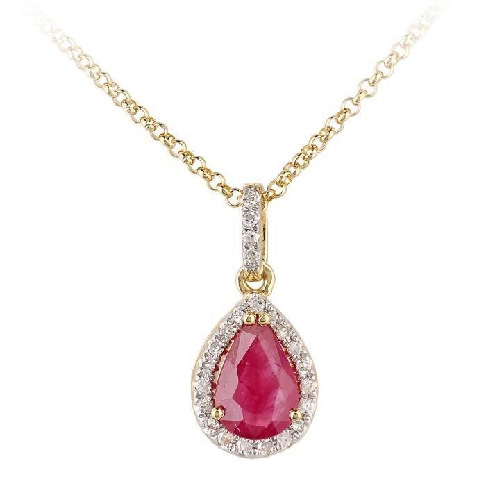 Revoni - Collier pendentif en or jaune 18 carats, rubis et diamants, motif goutte deau