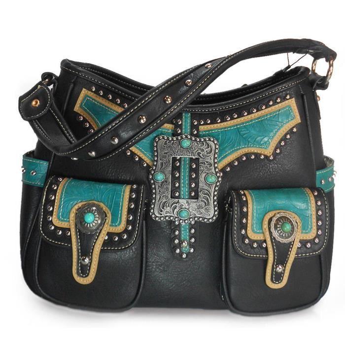 Concealed carry, multi Pocket Boucle Hobo + Wallet -noir JACEU