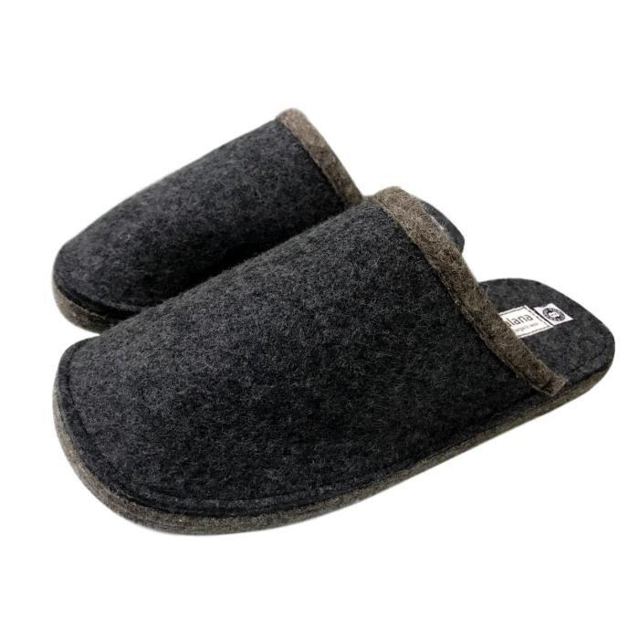 Mojopanda hiver femme et été gris plat slip-on avec semelle en laine naturelle douce, indo P4Q9R Taille-39 1-2