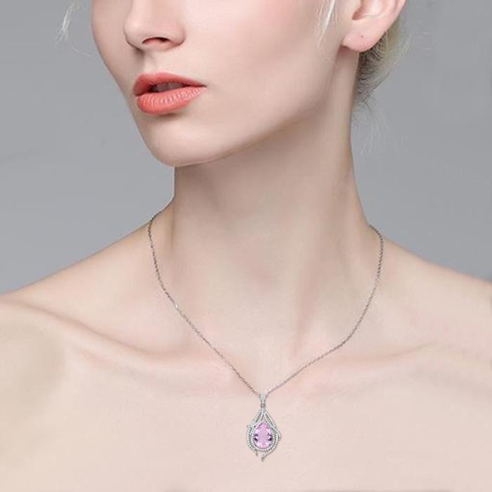 EVER FAITH® Femme 925 Argent SterlingCubic Zirconia Le paon vole au sud-est Goutte Collier Mariage Bijou Tourmaline Rose