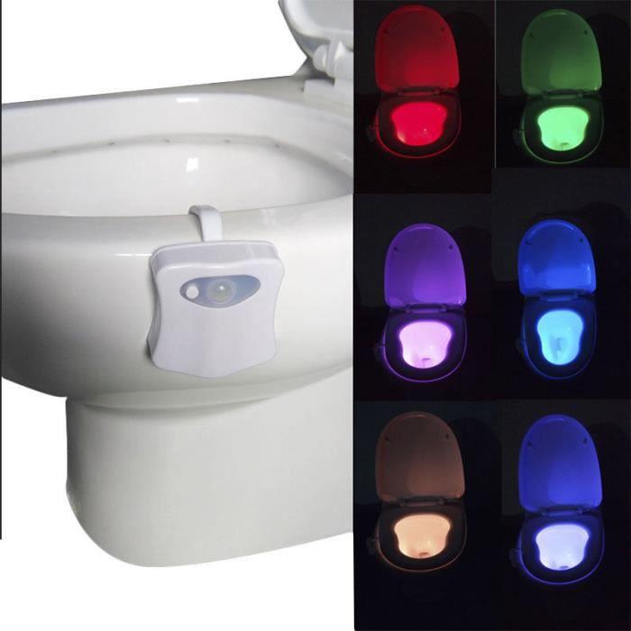 Hicollie® Cadeau Toilettes Automatique Détection Nuit Led Lumière Lampe Cuvette Corps Capteur 66HwBTn