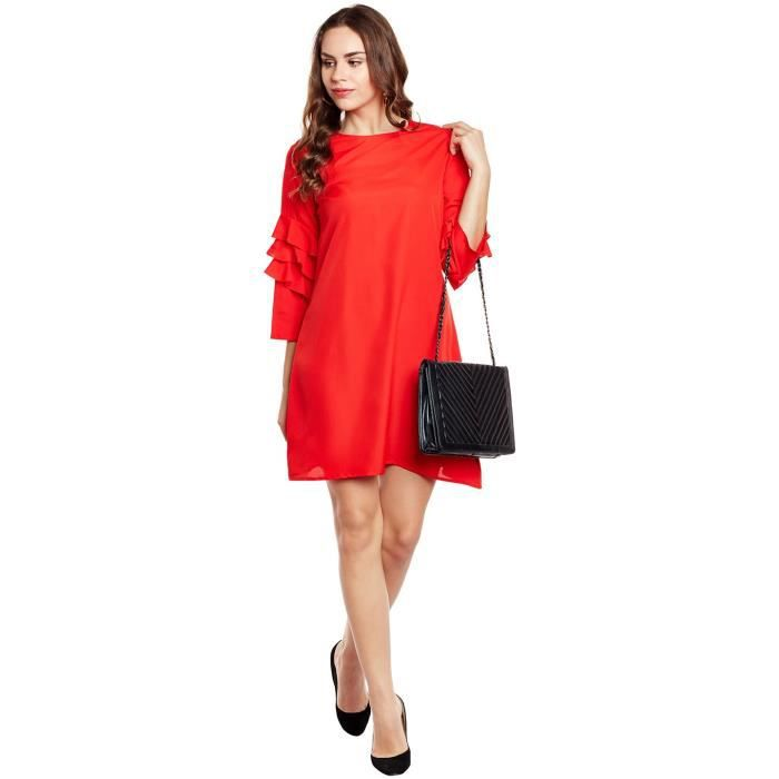 Womens Solid Red Poly Crepe Stylish Sleeces Shift Dress 1S5SGV Taille-32