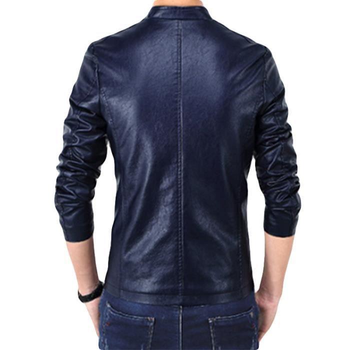 Marque Vêtement Homme Masculin Côté Cuir Plis Avec Col En Veste Sur Noir Hommes Le Poches Pointe Luxe Pu Ixw1ZB