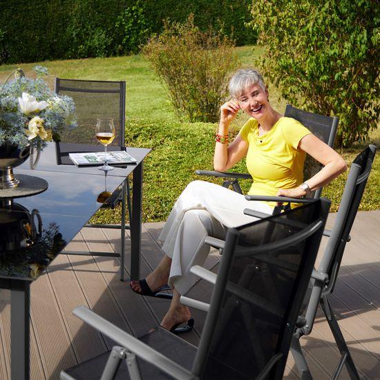 TECTAKE Salon de Jardin avec 8 Chaises Pliantes et 1 Table en Verre et en  Aluminium Gris Noir