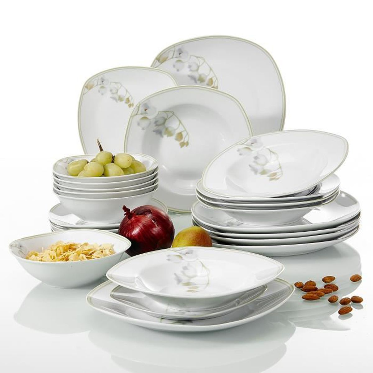 SERVICE COMPLET Veweet EMILY 24 pièces Service de Table Pocelaine. Lot de  24pcs assiettes ... 7b3b2de64a40