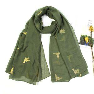 02e5735648fd ECHARPE - FOULARD Foulard long à motif brodé d oiseaux pour femmes Y ...