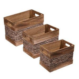BOITE DE RANGEMENT Lot de 3 caisses en bois et ficelle de maïs Bois F