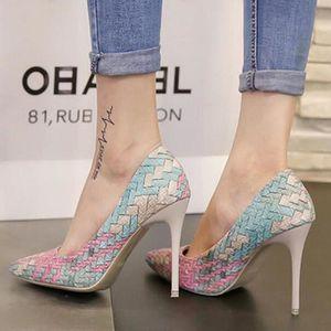 1f5c5ea824f ESCARPIN Chaussures à Talons Hauts Aigu Femme Escarpin Coul