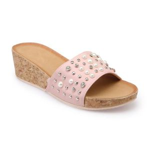 TONG Mules compensées roses strass et perles-36