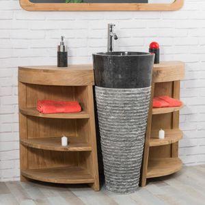 MEUBLE VASQUE - PLAN Meuble de salle de bain en teck Florence 120cm + v
