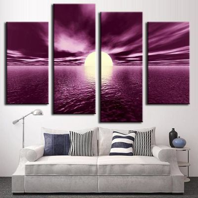 Moderne abstrait peinture murale coucher de soleil combinaison toile ...
