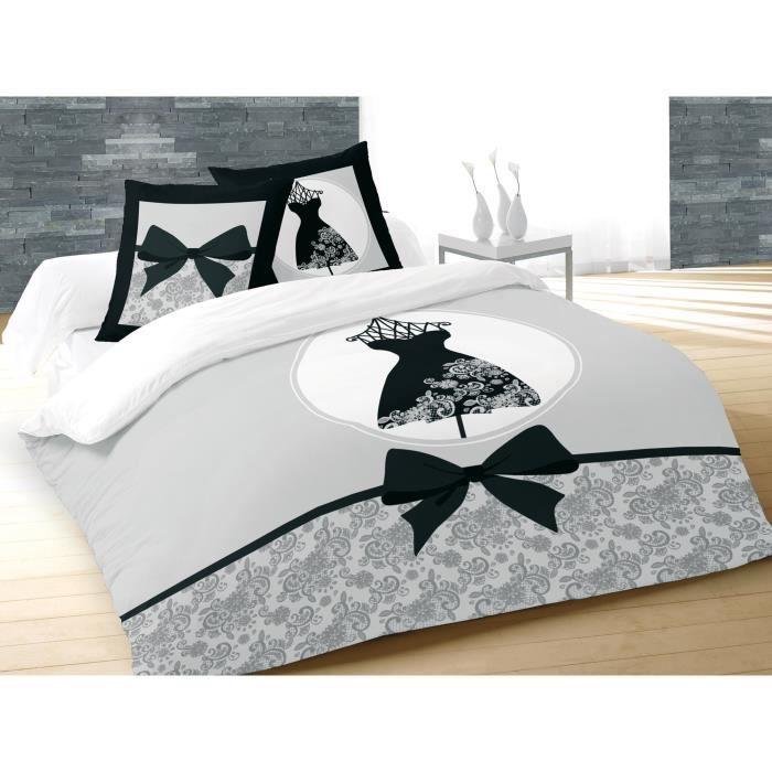Matière : 100% coton 57 fils - Dimensions : 240x260 cm/63x63 cm - Coloris : noir, gris et blancPARURE DE COUETTE
