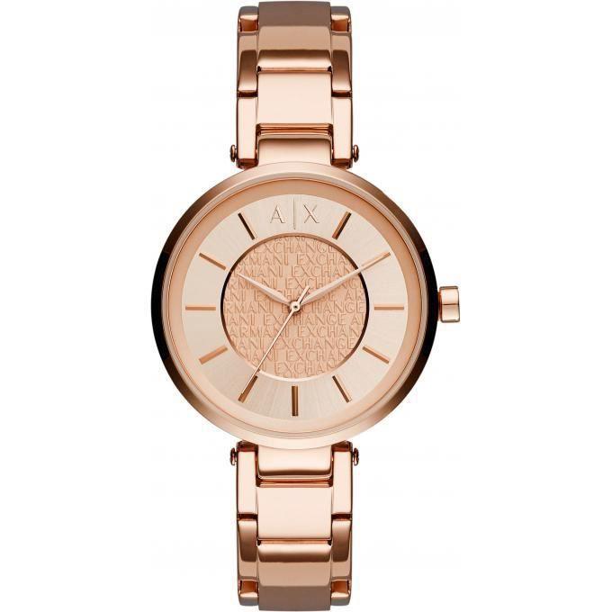 montre armani exchange ax5317 - montre acier or rose femme