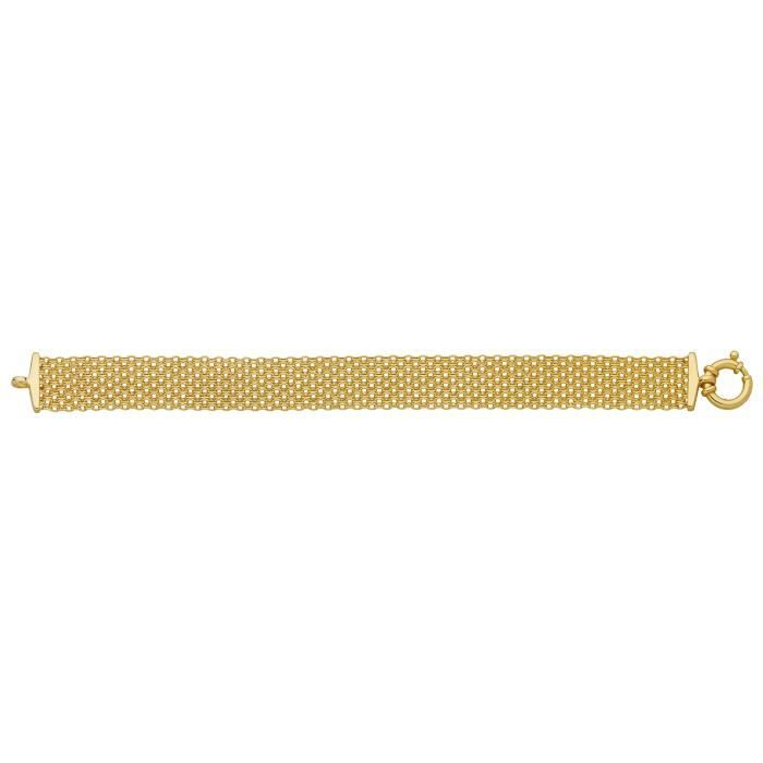 Bracelet Brillaxis large plat 10 rangs maille forçat