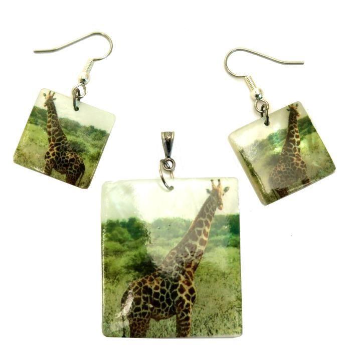 Shell Set 05 girafe boucles doreilles assorties de Pendentif de femmes QK4B1