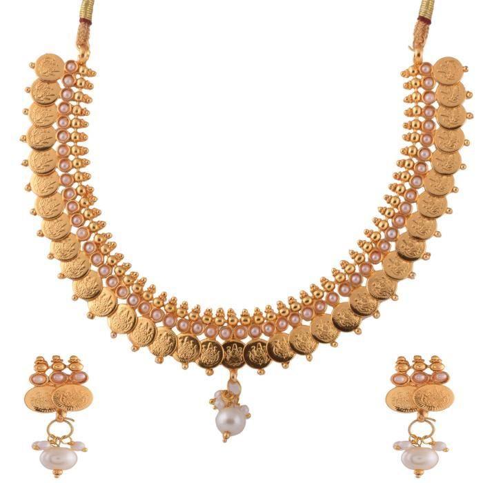 Femmes 1 gramme dor plaqué Lakshmi Coin avec perles Set collier pourW7VAF