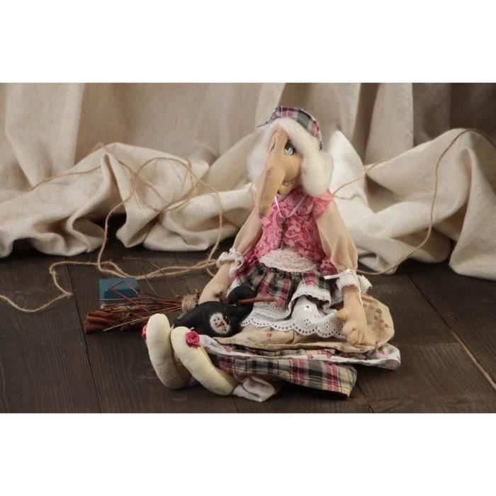 Poupée sorcière Baba Yaga en tissu faite main décorative originale de collection - 336717412