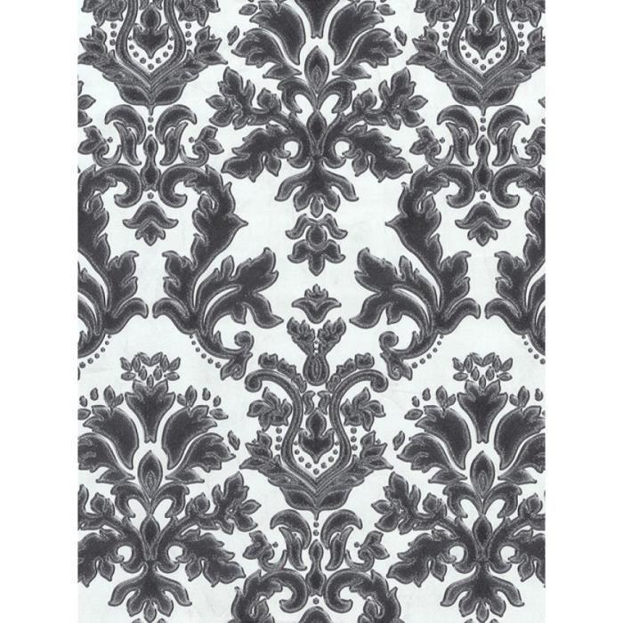 Papier Peint En Vinyle Damas Texture Noir Creme Et Argent P S