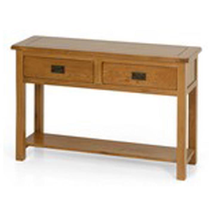 Table Console UKG Rustique En Bois De Chêne Avec 2 Tiroirs Et Un ...