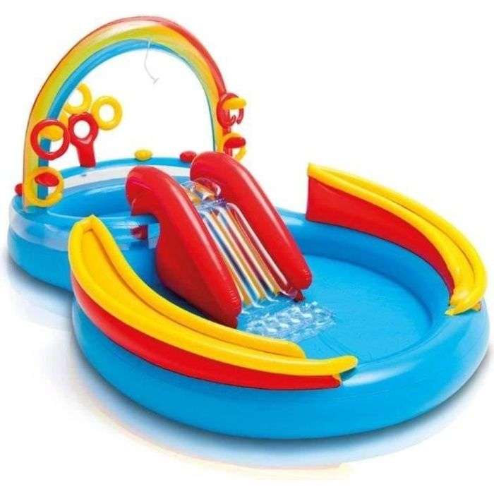 INTEX Piscine Gonflable Enfant / Aire De Jeux Aquatique 297 X 193 X 135 Cm  Rainbow Avec Toboggan, Sprayer, Anneaux Gonflables Et Bal