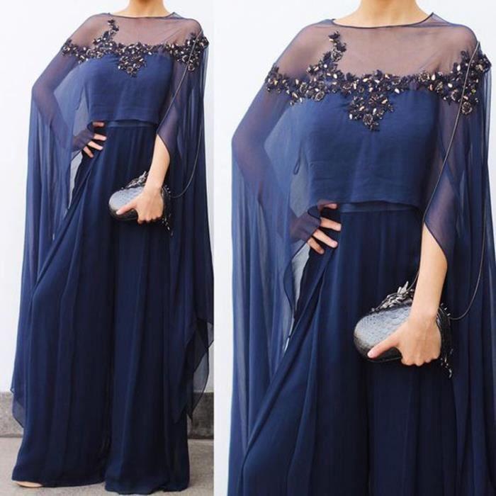 4907c628b70 Robe de Soirée Femme longue traîne col ras du cou Transparente striquer  paillette princesse A-line Grande Taille 32-56 chiffon Bleu