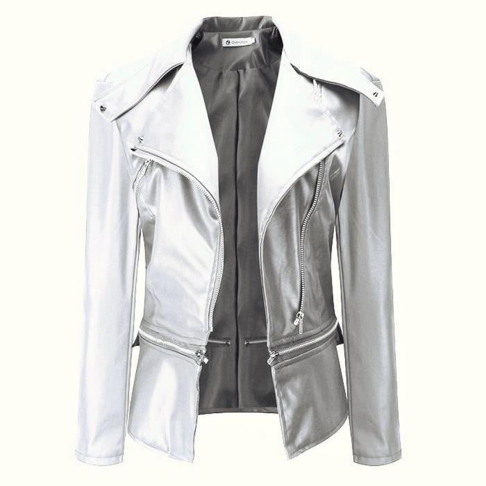 chaussures de sport ed861 aa5e1 GLAM® Punk Biker Vestes en cuir Femmes Winter Short Pu Bomber Jacket