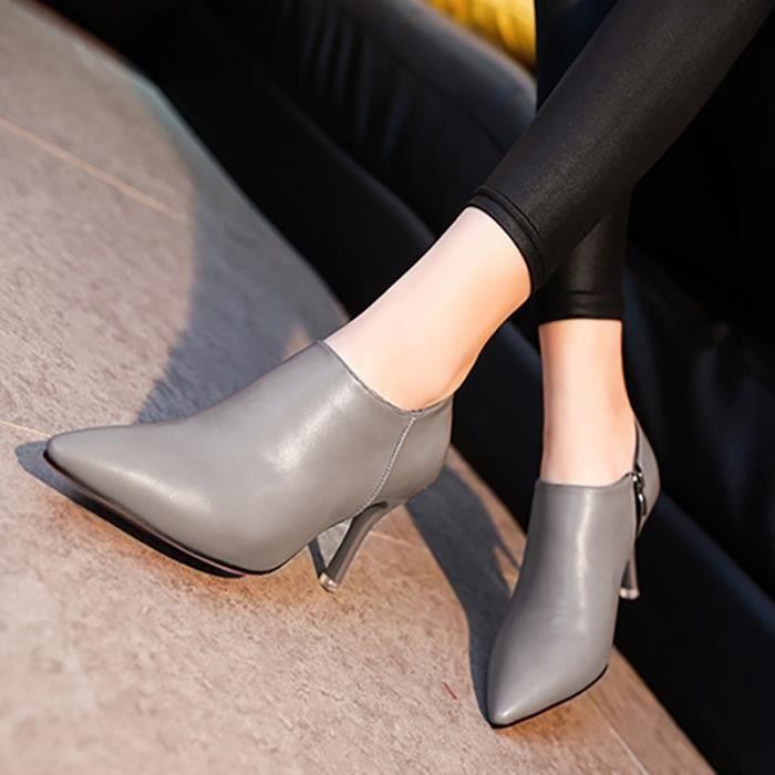 British Fashion Simple Fermeture éclair d'entreprise Chaussures à talon mince de la femme JgHeg
