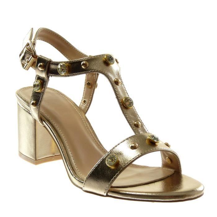 Angkorly - Chaussure Mode Sandale lanière cheville femme strass diamant clouté brillant Talon haut bloc 7 CM - Or - YS463 T 35