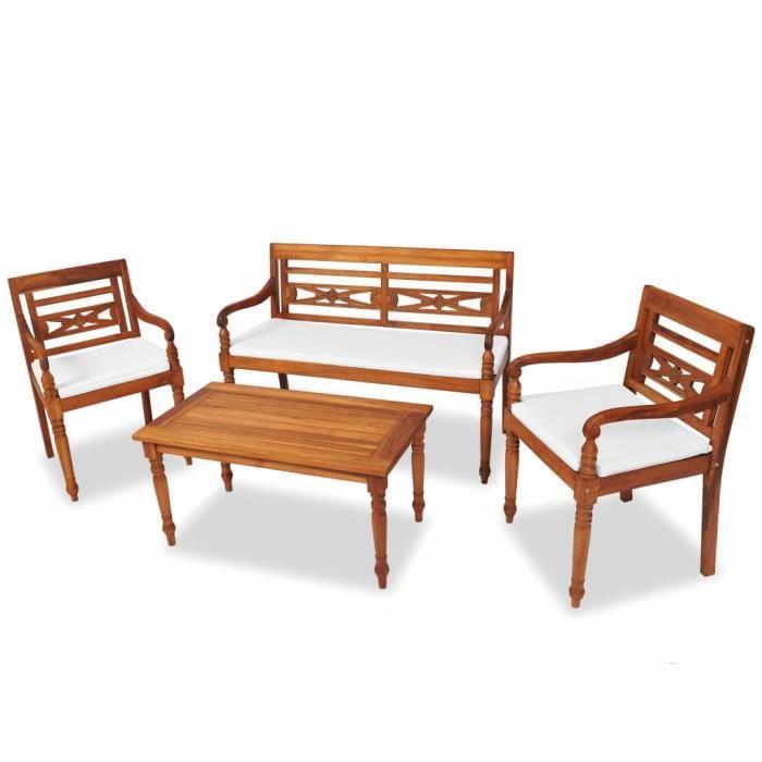 7 pcs Mobilier de jardin Batavia Teck Salon de jardin Jeu de canapé  Ensembles de meubles d\'exterieur