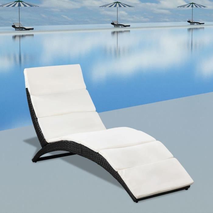 Chaise Longue Chaise de Jardin Lit pliable avec coussin Noir Résine tressée