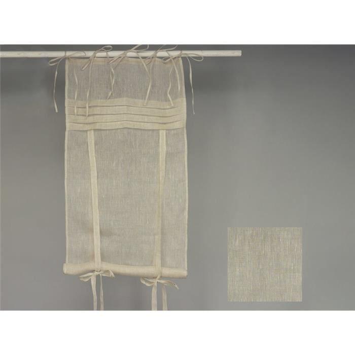 Simla - Rideau store en lin blanc à plis plats - Simla - Lin - 60 x 160 cm