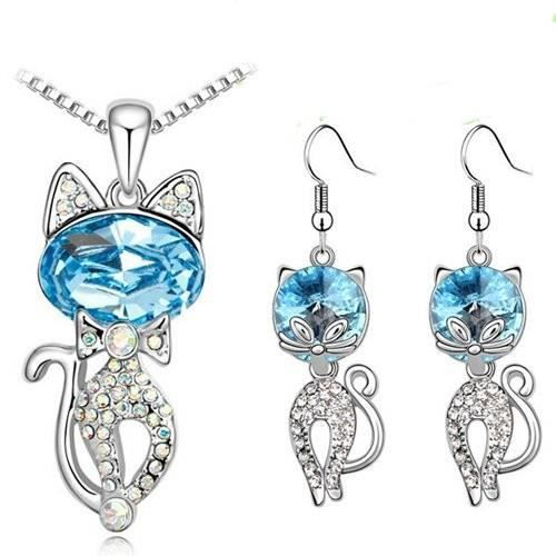 Parure chat cristaux SWAROVSKI ELEMENTS plaqué or blanc couleur Bleu turquoise