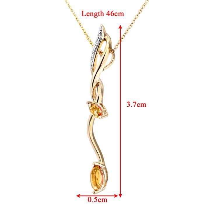 Or blanc diamant et Citrine Goutte Pendentif et collier de chaîneZ8P0R